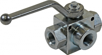 3-WAY BALL VALVE 1/2inch BSP WITH MOUNTING HOLES - T PORTED